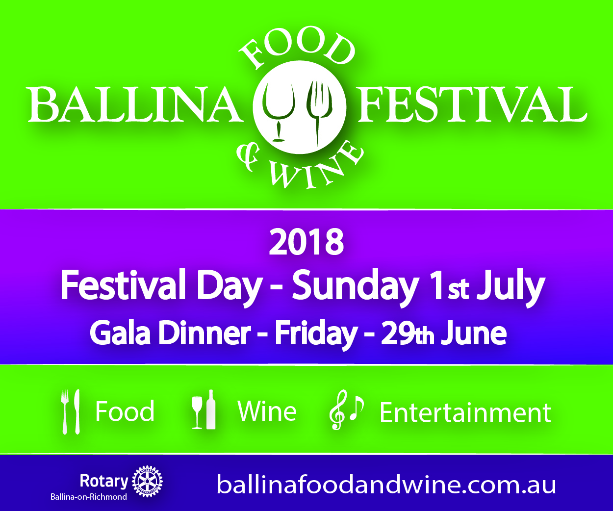 Ballina Food and Wine Festival Advertisement