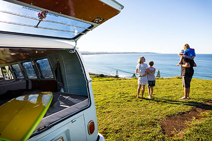 Family at Pat Morton Lookout with Kombi