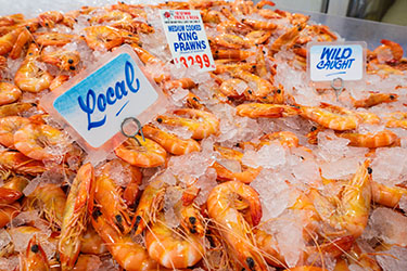 Local prawns in ice