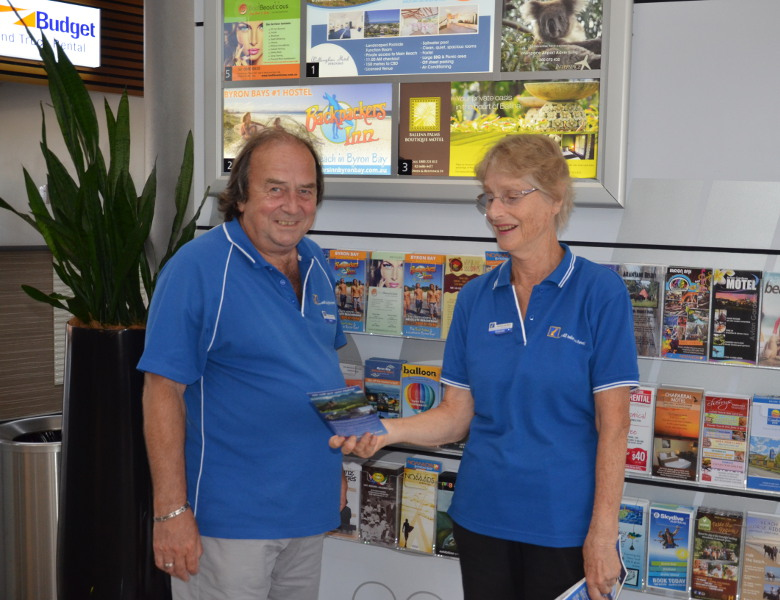 Derek Forkgen and Gwenda Demaagd Tourism ambassadors at the airport