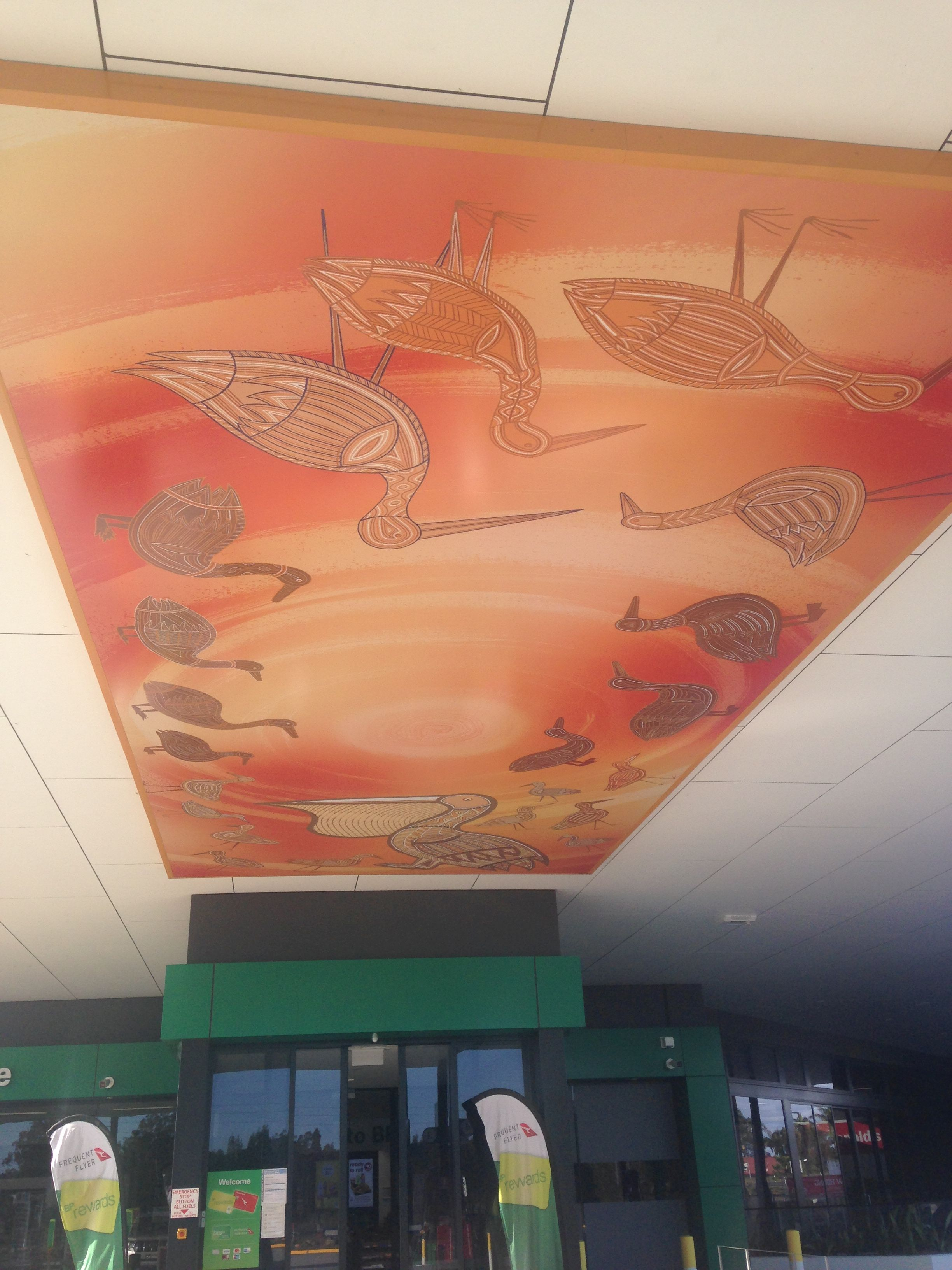 Image of Barbarra artwork by Indigenous artist Marcus Ferguson at Ballina BP refueling canopy