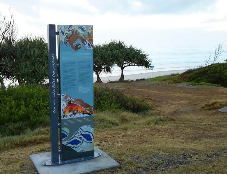 Aboriginal Cultural Ways signage with views overlooking the beach