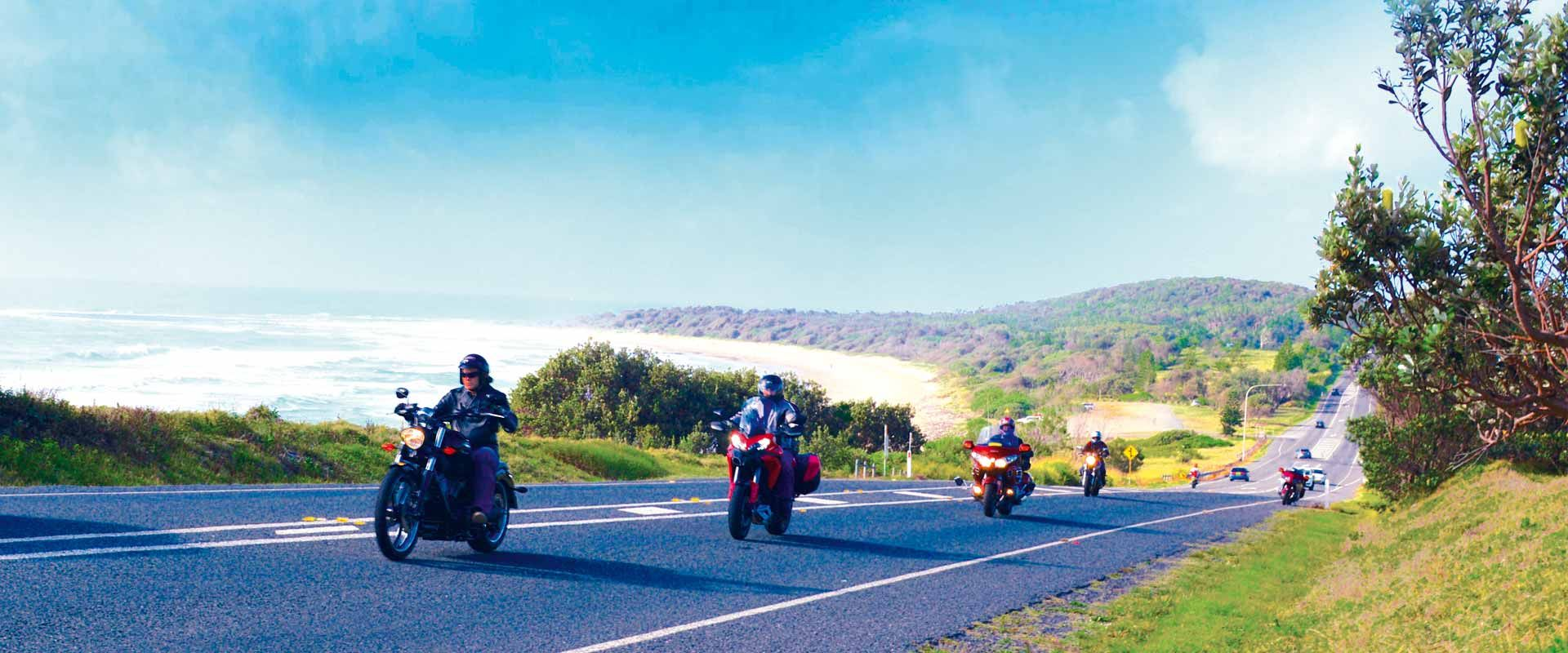 Motorbikes riding the Coast Road